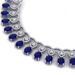 56.05 CTW Royalty Sapphire & VS Diamond Necklace 18K White Gold - REF-1054W5H - 39066