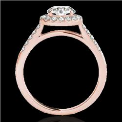 1.5 CTW H-SI/I Certified Diamond Solitaire Halo Ring 10K Rose Gold - REF-170K9R - 33482