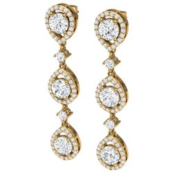 4.45 CTW Royalty Designer VS/SI Diamond Earrings 18K Yellow Gold - REF-538X2T - 39107