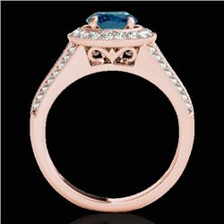1.7 CTW SI Certified Fancy Blue Diamond Solitaire Halo Ring 10K Rose Gold - REF-200X2T - 33973