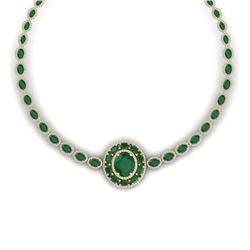 43.54 CTW Royalty Emerald & VS Diamond Necklace 18K Yellow Gold - REF-981F8M - 39275