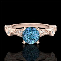 1.03 CTW Fancy Intense Blue Diamond Solitaire Art Deco Ring 18K Rose Gold - REF-114T5X - 37678