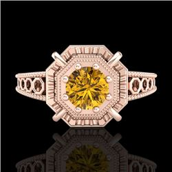0.53 CTW Intense Fancy Yellow Diamond Engagement Art Deco Ring 18K Rose Gold - REF-109F3M - 37442