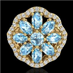 3 CTW Sky Blue Topaz & VS/SI Diamond Certified Cluster Halo Ring 10K Yellow Gold - REF-52N2Y - 20775