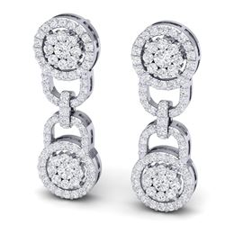 2.30 CTW Certified SI/I Diamond Halo Earrings 18K White Gold - REF-135N2Y - 40082