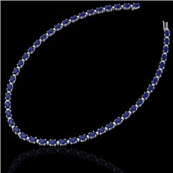 55.5.0 CTW Sapphire & VS/SI Certified Diamond Eternity Necklace 10K White Gold - REF-292M2F - 29433