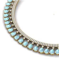 43.05 CTW Royalty Sky Topaz & VS Diamond Necklace 18K Yellow Gold - REF-854R5K - 38882