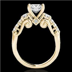 1.75 CTW VS/SI Certified Princess Diamond 3 Stone Ring 10K Yellow Gold - REF-394M9F - 35360