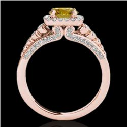 1.75 CTW Certified Si Fancy Intense Yellow Diamond Solitaire Halo Ring 10K Rose Gold - REF-194R5K -