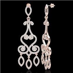 3.25 CTW VS/SI Diamond Certified Micro Pave Designer Earrings 14K Rose Gold - REF-253N6Y - 22416