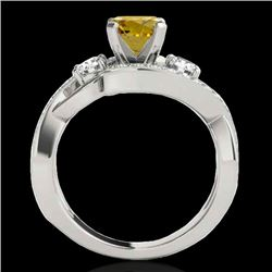 2.01 CTW Certified Si Intense Yellow Diamond Bypass Solitaire Ring 10K White Gold - REF-254H5W - 350