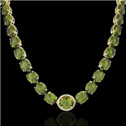 145 CTW Green Tourmaline & VS/SI Diamond Halo Micro Necklace 14K Yellow Gold - REF-1166F2M - 22301