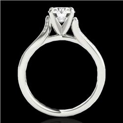 1.18 CTW H-SI/I Certified Diamond Solitaire Ring 10K White Gold - REF-180K2R - 35285
