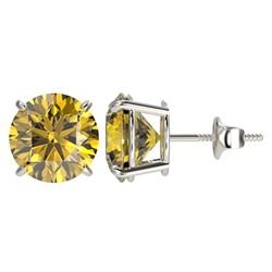 4 CTW Certified Intense Yellow SI Diamond Solitaire Stud Earrings 10K White Gold - REF-824Y2N - 3313