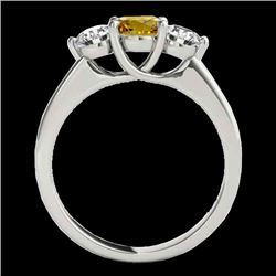 3 CTW Certified Si Fancy Intense Yellow Diamond 3 Stone Solitaire Ring 10K White Gold - REF-356H4W -