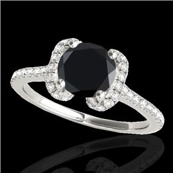 1.33 CTW Certified Vs Black Diamond Solitaire Halo Ring 10K White Gold - REF-57W6H - 33292