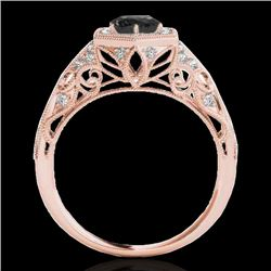 1.4 CTW Certified Vs Black Diamond Solitaire Antique Ring 10K Rose Gold - REF-78X9T - 34179