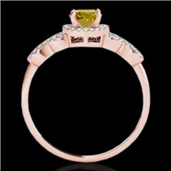 1.33 CTW Certified Si Fancy Intense Yellow Diamond Solitaire Ring 10K Rose Gold - REF-161X8T - 35321