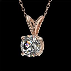 0.77 CTW Certified H-SI/I Quality Diamond Solitaire Necklace 10K Rose Gold - REF-100T2X - 36740