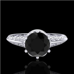 1 CTW Fancy Black Diamond Solitaire Engagement Art Deco Ring 18K White Gold - REF-52H8W - 38115