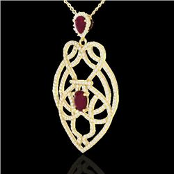 3.50 CTW Ruby & Micro VS/SI Diamond Heart Necklace Designer 14K Yellow Gold - REF-179K6R - 21251