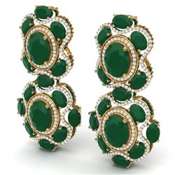 33.5 CTW Royalty Emerald & VS Diamond Earrings 18K Yellow Gold - REF-518Y2N - 39311