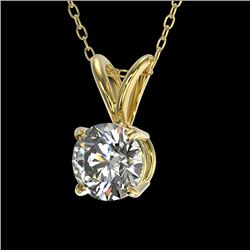 0.53 CTW Certified H-SI/I Quality Diamond Solitaire Necklace 10K Yellow Gold - REF-61W8H - 36722