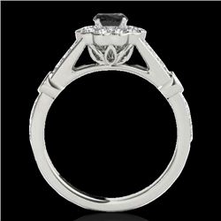 1.65 CTW Certified Vs Black Diamond Solitaire Halo Ring 10K White Gold - REF-81Y3N - 34035