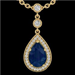 2.75 CTW Sapphire & Micro Pave VS/SI Diamond Necklace Designer 18K Yellow Gold - REF-52X8T - 23141