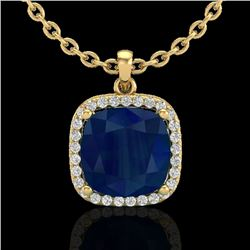 6 CTW Sapphire & Micro Pave Halo VS/SI Diamond Necklace 18K Yellow Gold - REF-85T5X - 23087