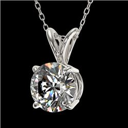 1.04 CTW Certified H-SI/I Quality Diamond Solitaire Necklace 10K White Gold - REF-178K2R - 36750