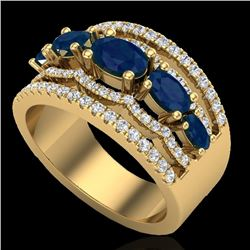 2.25 CTW Sapphire & Micro Pave VS/SI Diamond Certified Designer Ring 10K Yellow Gold - REF-71H3W - 2