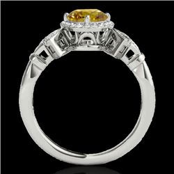 1.56 CTW Certified Si Fancy Intense Yellow Diamond Solitaire Halo Ring 10K White Gold - REF-209T3X -