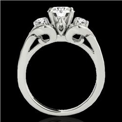 1.45 CTW H-SI/I Certified Diamond 3 Stone Ring 10K White Gold - REF-180T2X - 35331