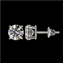 1.59 CTW Certified H-SI/I Quality Diamond Solitaire Stud Earrings 10K White Gold - REF-154N5Y - 3660