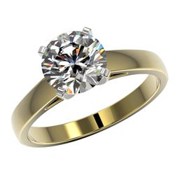 2.05 CTW Certified G-Si Quality Diamond Solitaire Ring 10K Yellow Gold - REF-578W5H - 36554