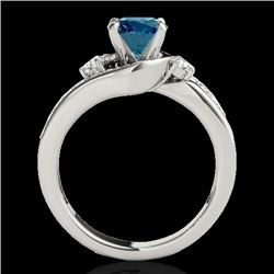 2 CTW SI Certified Fancy Blue Diamond Bypass Solitaire Ring 10K White Gold - REF-272X8T - 35103