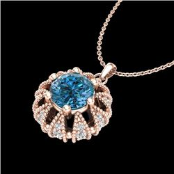 1.2 CTW Fancy Intense Blue Diamond Art Deco Stud Necklace 18K Rose Gold - REF-118W2H - 37741