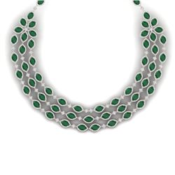 85.81 CTW Royalty Emerald & VS Diamond Necklace 18K Rose Gold - REF-1618T2X - 38941