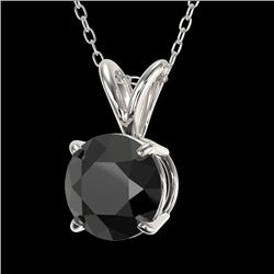 1 CTW Fancy Black VS Diamond Solitaire Necklace 10K White Gold - REF-31H8W - 33185