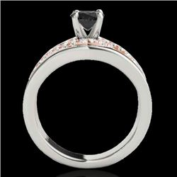 1.3 CTW Certified Vs Black Diamond Solitaire Ring Two Tone 10K White & Rose Gold - REF-77F3M - 35290