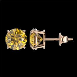 1.92 CTW Certified Intense Yellow SI Diamond Solitaire Stud Earrings 10K Rose Gold - REF-309F3M - 36