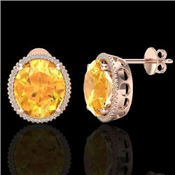 20 CTW Citrine & Micro Pave VS/SI Diamond Certified Halo Earrings 14K Rose Gold - REF-109Y3N - 20267