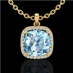 6 CTW Sky Blue Topaz & Micro Halo VS/SI Diamond Necklace 18K Yellow Gold - REF-68R5K - 23090