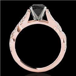 1.5 CTW Certified Vs Black Diamond Solitaire Ring 10K Rose Gold - REF-78X4T - 35218