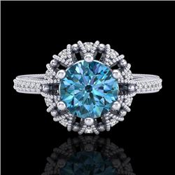 1.65 CTW Fancy Intense Blue Diamond Engagement Art Deco Ring 18K White Gold - REF-230K9R - 37726