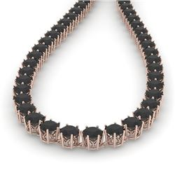 36 CTW Certified Black VS Diamond Necklace 14K Rose Gold - REF-1033F6M - 29750