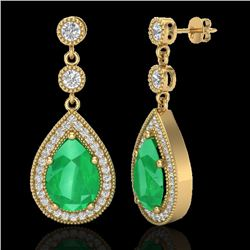 6 CTW Emerald & Micro Pave VS/SI Diamond Earrings Designer 18K Yellow Gold - REF-93W8H - 23116