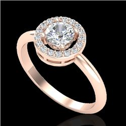 0.70 CTW Micro Pave Halo Solitaire VS/SI Diamond Certified Ring 14K Rose Gold - REF-101K3R - 23288
