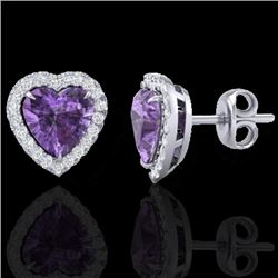 2 CTW Amethyst & Micro Pave VS/SI Diamond Earrings Heart Halo 14K White Gold - REF-42F8M - 21199